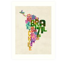 Typography Map of Central and South America Art Print
