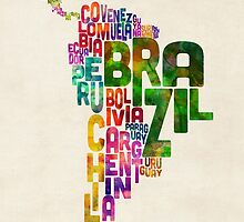 Typography Map of Central and South America by Michael Tompsett