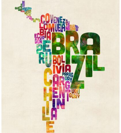 Typography Map of Central and South America Sticker