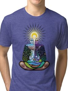 Psychedelic meditating Nature-man Tri-blend T-Shirt
