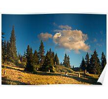 Light Along The Mountain Slope Poster