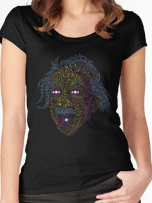 Acid Scientist tongue out psychedelic art poster Women's Fitted Scoop T-Shirt