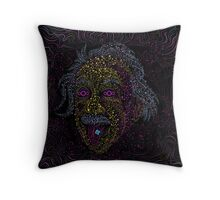Acid Scientist tongue out psychedelic art poster Throw Pillow