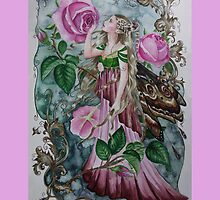 'Golden wings'pink rose fairy faerie butterfly  by gabo2828