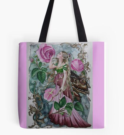 'Golden wings'pink rose fairy faerie butterfly  Tote Bag