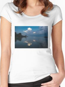 Cool Blue and White Women's Fitted Scoop T-Shirt