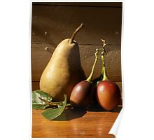 Still Life Pear and Tamerillo Poster