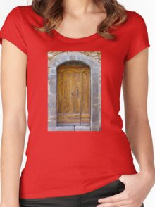 Medieval Wooden Door on Stone Castle, FRANCE Women's Fitted Scoop T-Shirt