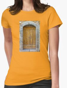 Medieval Wooden Door on Stone Castle, FRANCE Womens Fitted T-Shirt