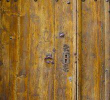Medieval Wooden Door on Stone Castle, FRANCE Sticker