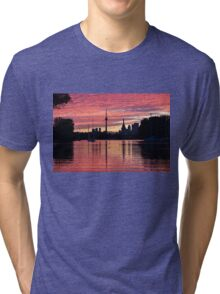 Fiery Sunset - Downtown Toronto Skyline with Sailboats Tri-blend T-Shirt