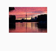 Fiery Sunset - Downtown Toronto Skyline with Sailboats Unisex T-Shirt