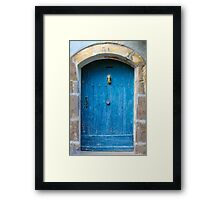 Vintage Blue Door in Southern France Framed Print