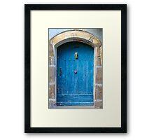 Vintage Blue Door in Southern France Framed Print