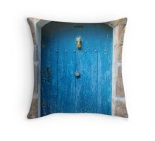 Vintage Blue Door in Southern France Throw Pillow
