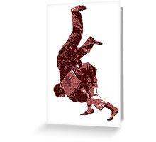Judo Throw in Gi Red Greeting Card