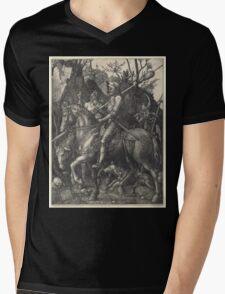 Albrecht Dürer or Durer Knight, Death and Devil Mens V-Neck T-Shirt