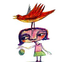 Bouncing a Ball With a Bird On My Head Photographic Print