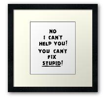 You Cant Fix Stupid Framed Print