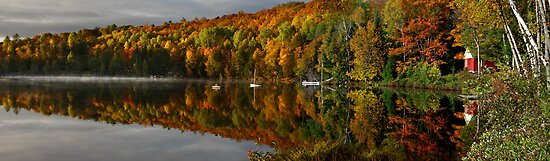 Cabin on the lake panorama by Jim Cumming