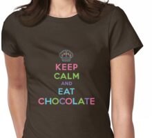 Keep Calm and Eat Chocolate - brown Womens Fitted T-Shirt