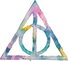 Deathly Hallows Watercolor (white) by PeonyPaints