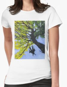 Girl on a Tree Swing Womens Fitted T-Shirt