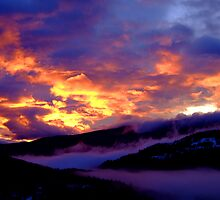 Fire in the Sky: Sunset over the Vercors Plateau by Neil Austin