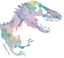 Watercolor Jurassic (white)  by PeonyPaints