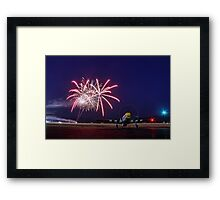 Historic WWII Plane with Fireworks Framed Print