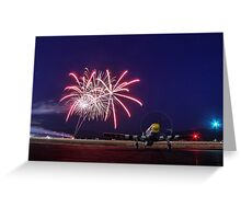 Historic WWII Plane with Fireworks Greeting Card