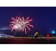 Historic WWII Plane with Fireworks Photographic Print