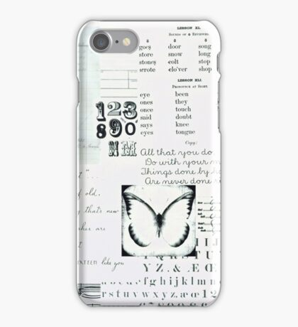Vintage Text with Butterfly Pattern iPhone Case/Skin