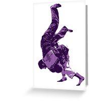 Judo Throw in Gi Purple  Greeting Card