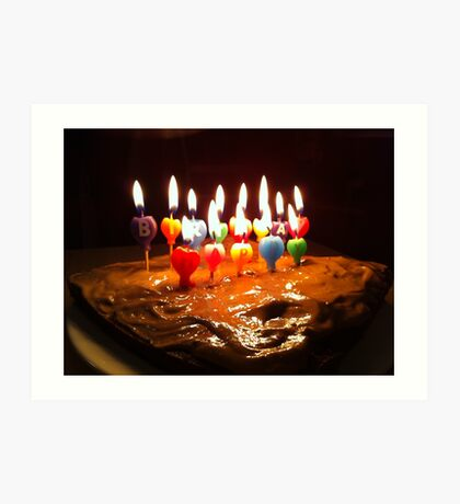 happy birthday cake with candles Art Print