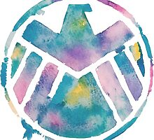 Watercolor S.H.I.E.L.D. (white)  by PeonyPaints
