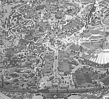 Black and White Disneyland Map by jlie3