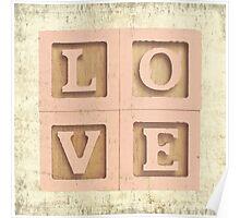Block Love Pink Poster