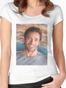 Hugh Jackman Art Women's Fitted Scoop T-Shirt