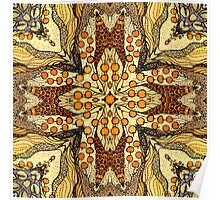 Abstract kaleidoscope patern with apple Poster