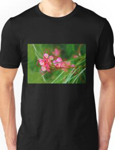 Floral background of grass and red flowers  Unisex T-Shirt