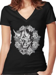 Oni Demon Women's Fitted V-Neck T-Shirt