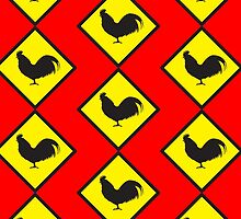 Rooster crossing beware rooster cock sign by jazzydevil
