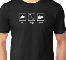 Eat. Sleep. Read. - White Unisex T-Shirt