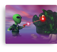Cute lil Alien & Blob Canvas Print