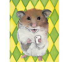 Say Cheese; Hamster with an i phone Photographic Print