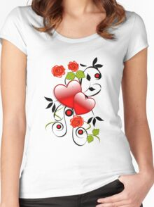 Hearts and roses Women's Fitted Scoop T-Shirt