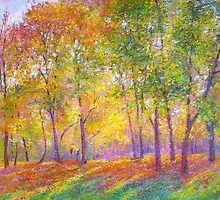 Sunlit trees by Julia Lesnichy