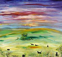 Landscape with Black Cats by Regina Valluzzi