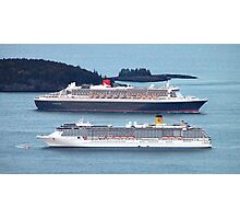 'Two Cruise Ships in Bar Harbor' Photographic Print